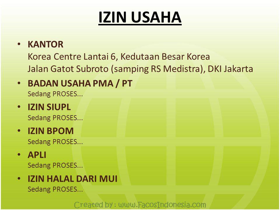 IZIN USAHA • KANTOR Korea Centre Lantai 6, Kedutaan Besar Korea Jalan Gatot Subroto (samping RS Medistra), DKI Jakarta • BADAN USAHA PMA / PT Sedang PROSES...
