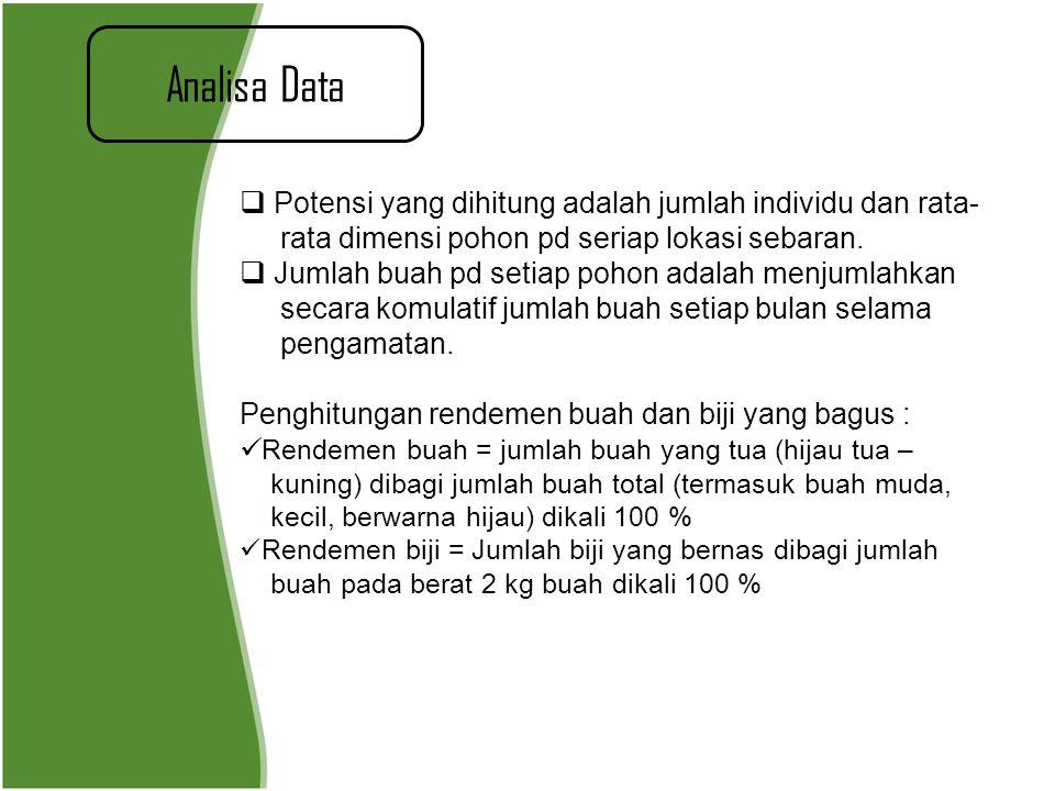 Analisa Data  Potensi yang dihitung adalah jumlah individu dan rata- rata dimensi pohon pd seriap lokasi sebaran.  Jumlah buah pd setiap pohon adala