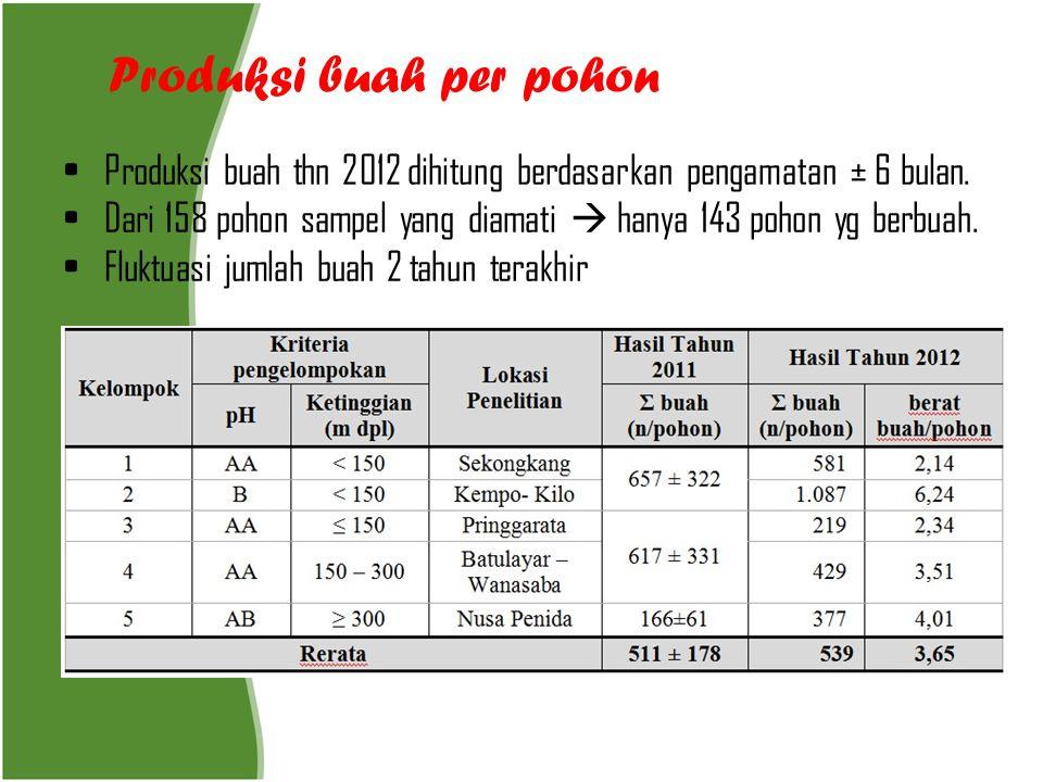 Produksi buah per pohon • Produksi buah thn 2012 dihitung berdasarkan pengamatan ± 6 bulan. • Dari 158 pohon sampel yang diamati  hanya 143 pohon yg