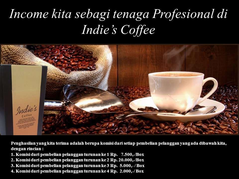 Income kita sebagi tenaga Profesional di Indie's Coffee Penghasilan yang kita terima adalah berupa komisi dari setiap pembelian pelanggan yang ada dibawah kita, dengan rincian : 1.