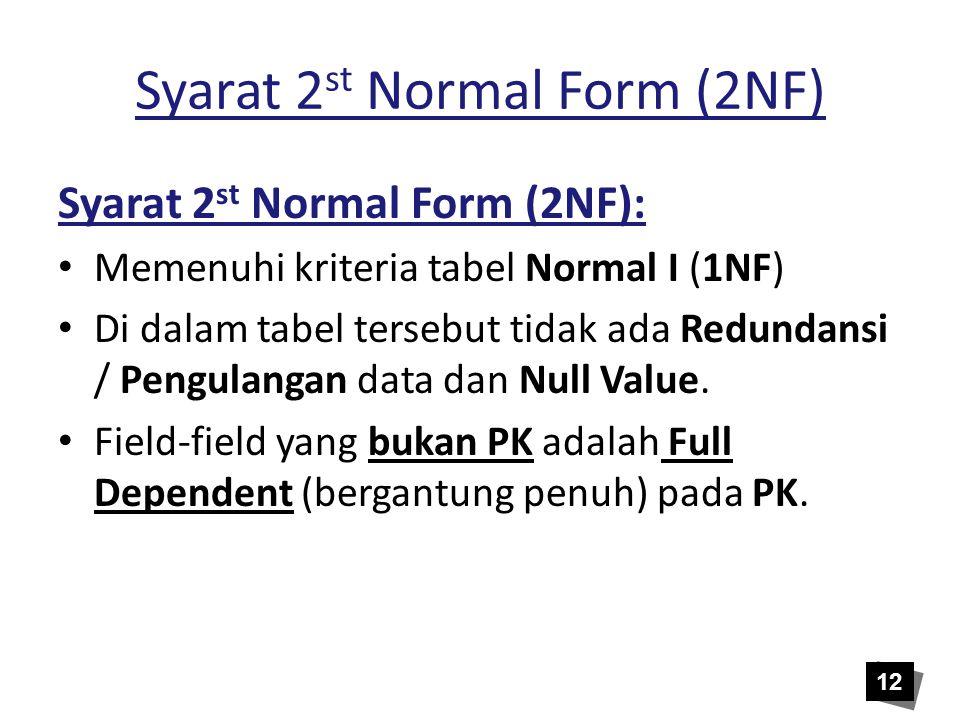 Syarat 2 st Normal Form (2NF) Syarat 2 st Normal Form (2NF): • Memenuhi kriteria tabel Normal I (1NF) • Di dalam tabel tersebut tidak ada Redundansi /