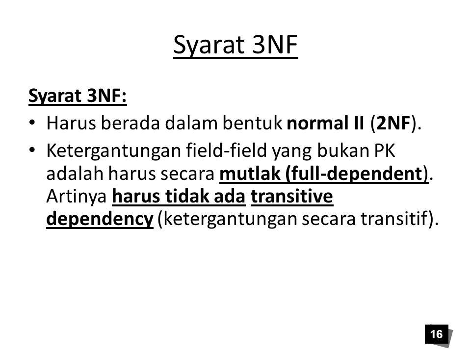 Syarat 3NF Syarat 3NF: • Harus berada dalam bentuk normal II (2NF). • Ketergantungan field-field yang bukan PK adalah harus secara mutlak (full-depend