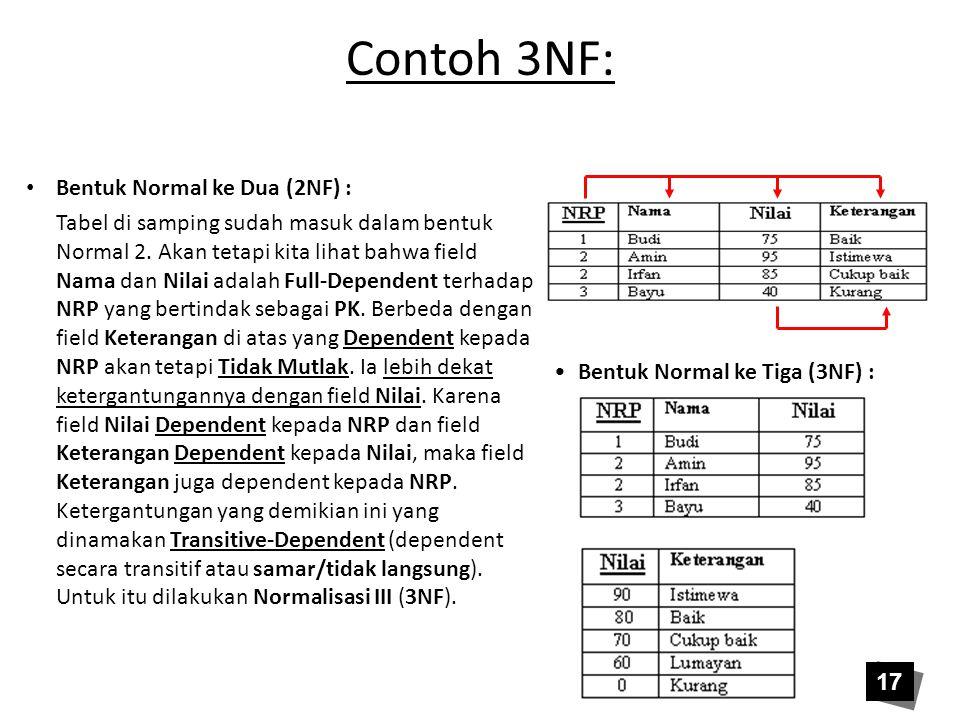 Contoh 3NF: • Bentuk Normal ke Dua (2NF) : Tabel di samping sudah masuk dalam bentuk Normal 2. Akan tetapi kita lihat bahwa field Nama dan Nilai adala