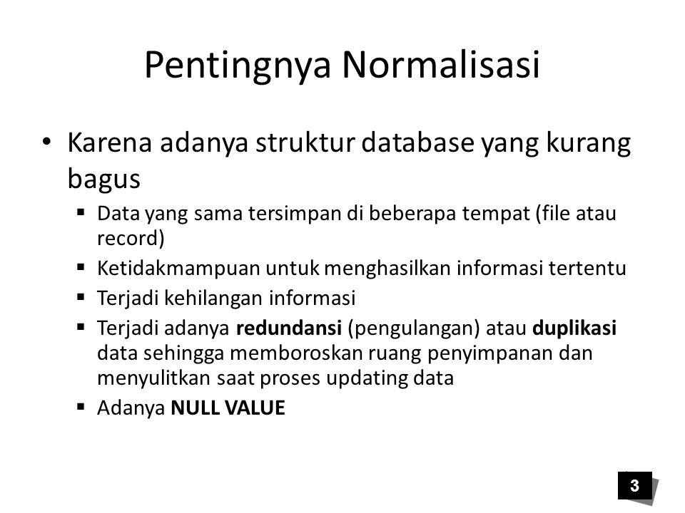 Pentingnya Normalisasi • Karena adanya struktur database yang kurang bagus  Data yang sama tersimpan di beberapa tempat (file atau record)  Ketidakm