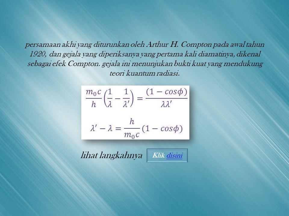 persamaan akhi yang diturunkan oleh Arthur H.