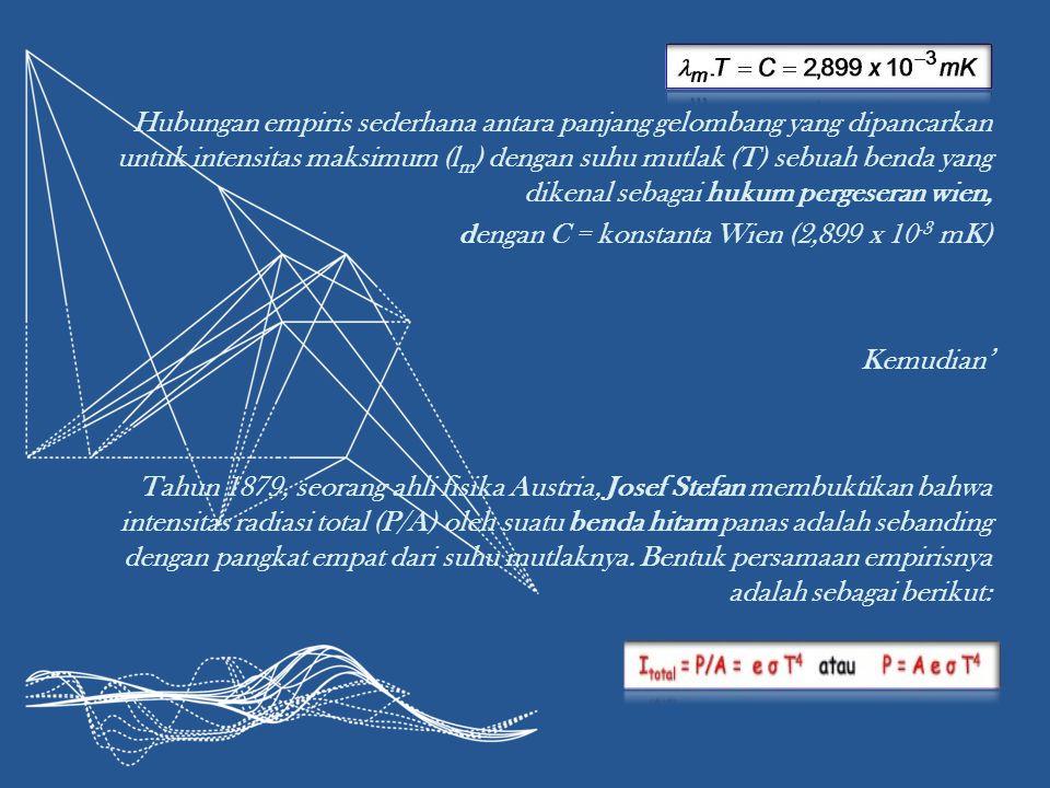 Hubungan empiris sederhana antara panjang gelombang yang dipancarkan untuk intensitas maksimum (l m ) dengan suhu mutlak (T) sebuah benda yang dikenal sebagai hukum pergeseran wien, dengan C = konstanta Wien (2,899 x 10 -3 mK) Kemudian' Tahun 1879, seorang ahli fisika Austria, Josef Stefan membuktikan bahwa intensitas radiasi total (P/A) oleh suatu benda hitam panas adalah sebanding dengan pangkat empat dari suhu mutlaknya.