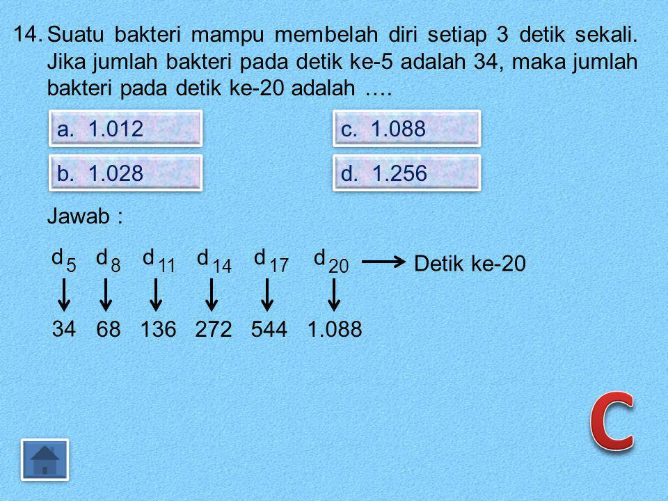 13. Empat suku pertama dari barisan dengan rumus Un = 4n – 4 adalah …. a. 0, 4, 8, 12 b. 4, 8, 12, 16 c. 1, 4, 16, 64 d. 4, 16, 64, 256 Jawab : Un = 4
