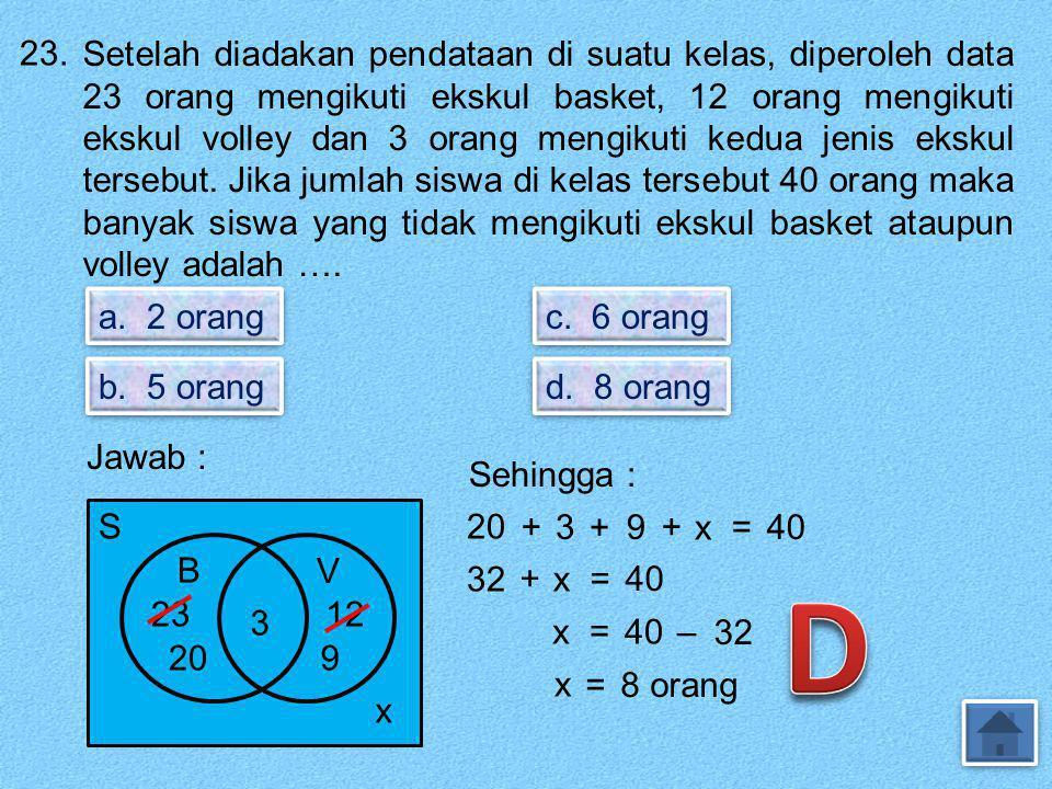 22. Perhatikan diagram Venn. S.6.1.3.2.4.5.7.8 B A Irisan himpunan A dan B adalah …. a. { 1 } b. {2, 3} c. {4, 5} d. {7, 8, 9} Jawab : Irisan A dan B