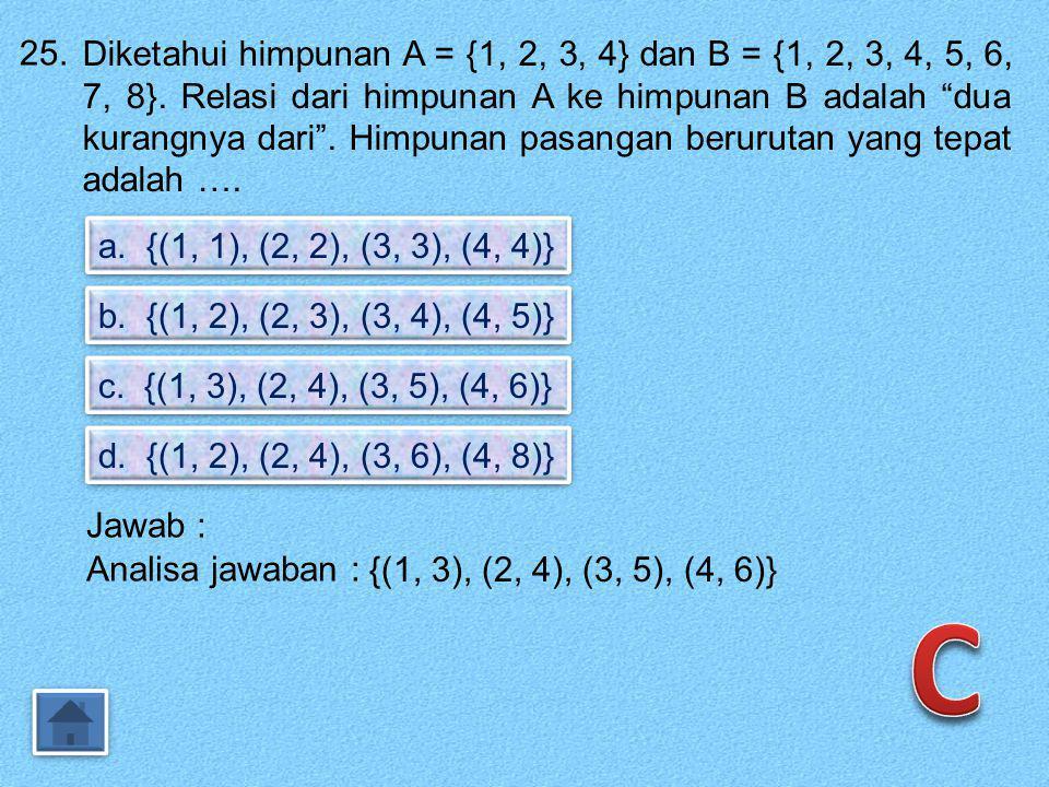 24. Perhatikan diagram Venn. 1. 2. 3..a.b.c Yang merupakan range adalah …. a. {1, 2, 3} b. {a, b, c} c. {a, c} d. { b } Jawab : {1, 2, 3} Domain {a, b