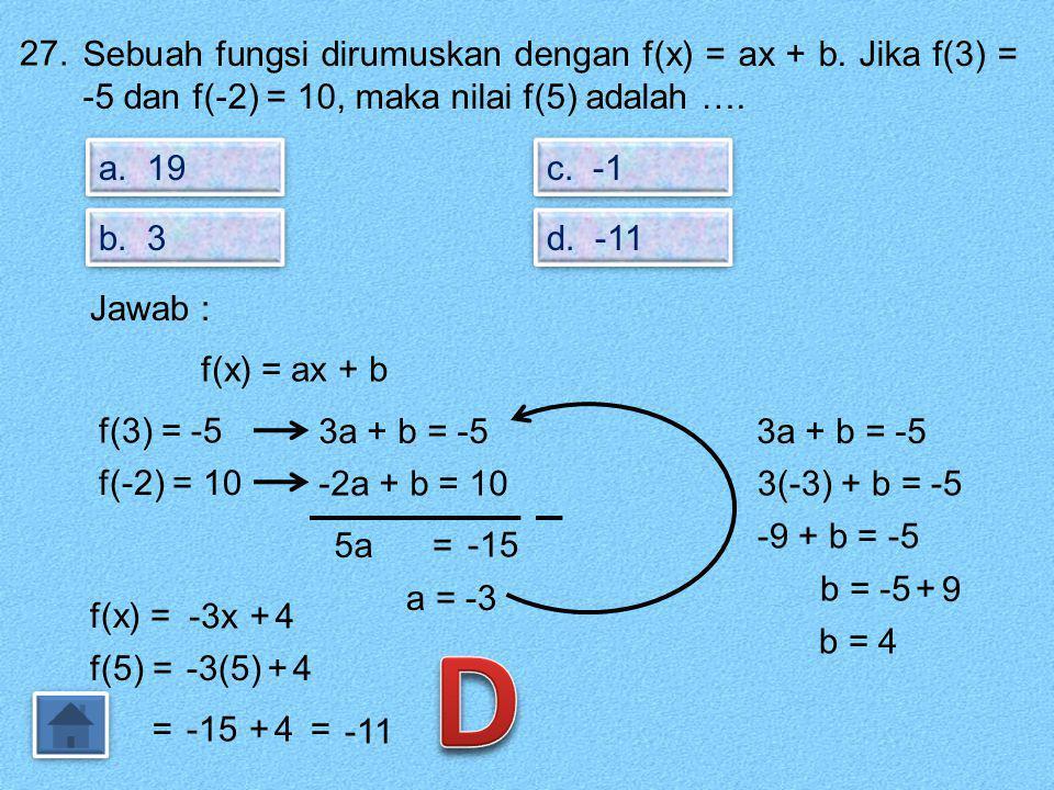26. Notasi sebuah fungsi adalah f : x → 2x – 5. Jika f(a) = -7, maka nilai a adalah …. a. -6 b. -1 c. 1 d. 6 Jawab : Notasi : f : x → 2x – 5. Fungsi :