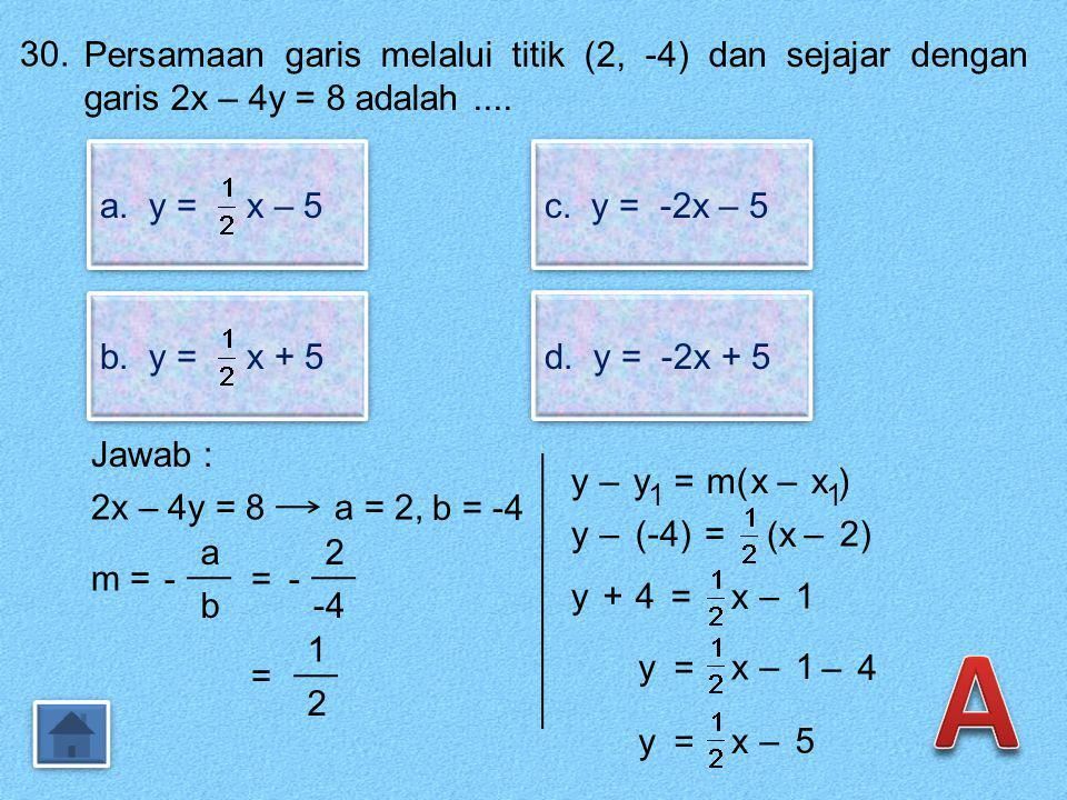 29.29. Perhatikan gambar berikut ! Gradien garis k adalah.... a. b.b. b.b. c.c. c.c. d.d. d.d. Jawab : Arah garis : Gradien (m) = (–) negatif m = - 4