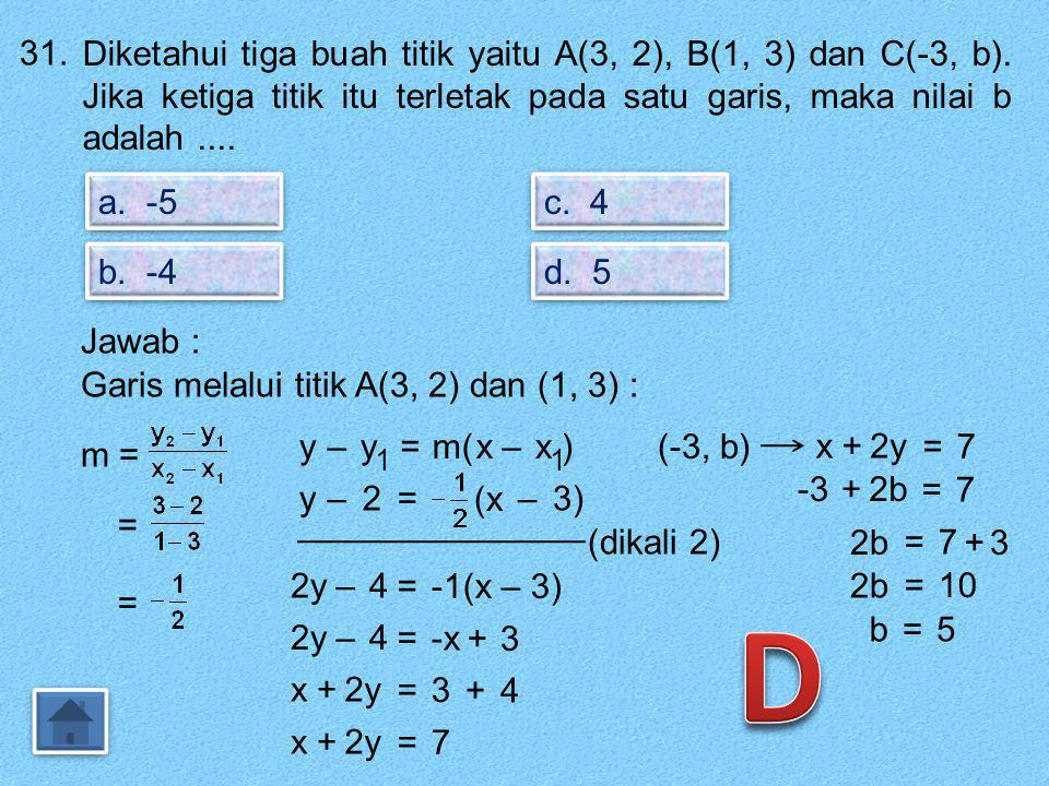 30. Persamaan garis melalui titik (2, -4) dan sejajar dengan garis 2x – 4y = 8 adalah.... a. y = x – 5 a. y = x – 5 b. y = x + 5 b. y = x + 5 c. y = -