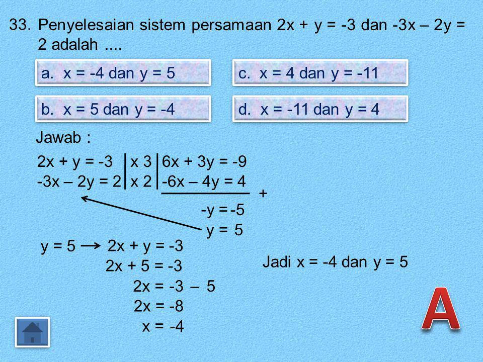 32. Grafik garis g dengan persamaan y = - x – 3 adalah.... a. c. b. d. Jawab : y = -½ x – 3m =-½ Arah garis : y = -½ x – 3Melalui titik (0,-3) Sehingg