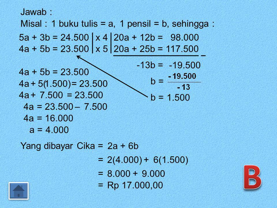 34. Budi membeli 5 buah buku tulis dan 3 pensil dengan harga Rp 24.500,00. Ani membeli 4 buku tulis dan 5 buah pensil yang sama dengan harga Rp 23.500