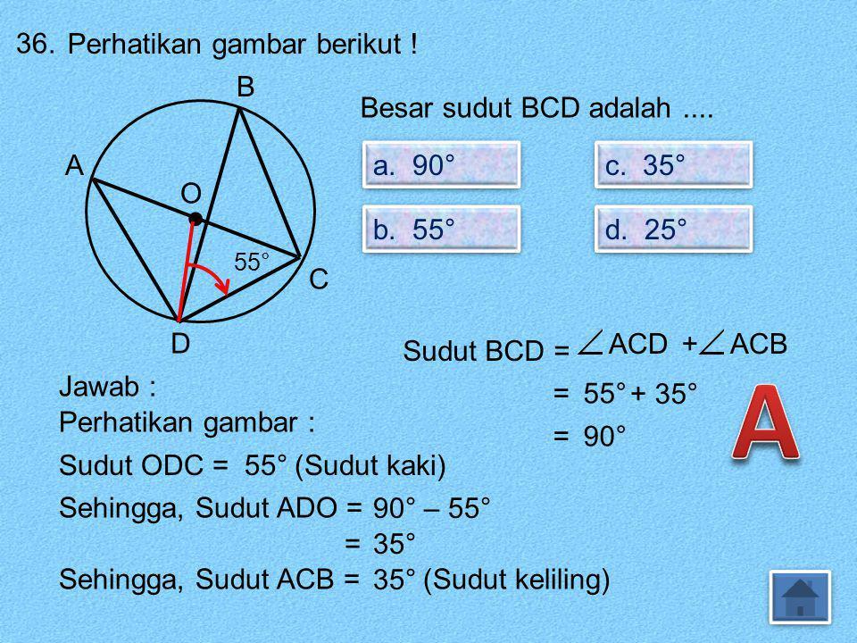 35. Luas lingkaran dengan panjang jari-jari 3,5 cm adalah.... a. 22 cm² a. 22 cm² b. 38,5 cm² b. 38,5 cm² c. 44 cm² c. 44 cm² d. 77 cm² d. 77 cm² Jawa