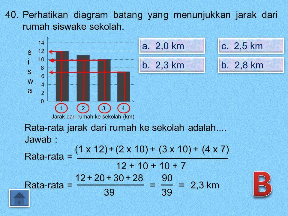 39. Perhatikan tabel frekuensi yang memuat nilai ulangan siswa. a. 9 orang a. 9 orang b. 11 orang b. 11 orang NilaiFrekuensi 43 58 66 75 89 97 102 Ban