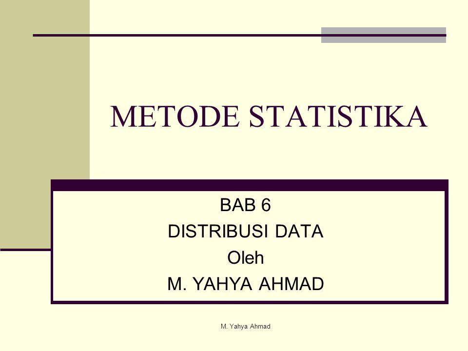 BAB 6 DISTRIBUSI DATA Oleh M. YAHYA AHMAD METODE STATISTIKA M. Yahya Ahmad