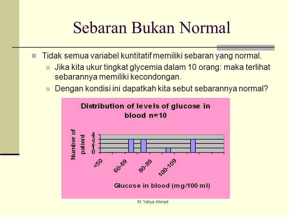 Sebaran Bukan Normal  Tidak semua variabel kuntitatif memiliki sebaran yang normal.  Jika kita ukur tingkat glycemia dalam 10 orang: maka terlihat s
