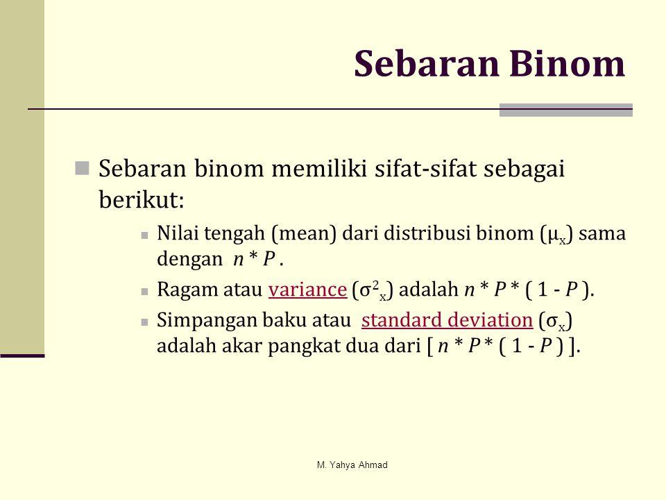 Sebaran Binom  Sebaran binom memiliki sifat-sifat sebagai berikut:  Nilai tengah (mean) dari distribusi binom (μ x ) sama dengan n * P.  Ragam atau