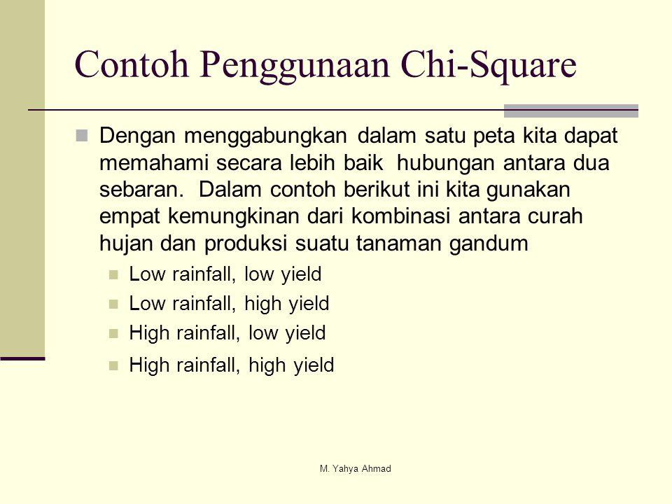 Contoh Penggunaan Chi-Square  Dengan menggabungkan dalam satu peta kita dapat memahami secara lebih baik hubungan antara dua sebaran. Dalam contoh be