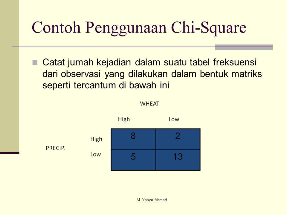 Contoh Penggunaan Chi-Square  Catat jumah kejadian dalam suatu tabel freksuensi dari observasi yang dilakukan dalam bentuk matriks seperti tercantum