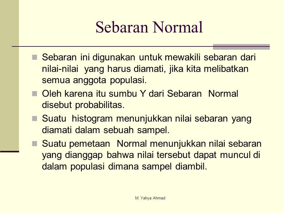 Sebaran Normal  Sebaran ini digunakan untuk mewakili sebaran dari nilai-nilai yang harus diamati, jika kita melibatkan semua anggota populasi.  Oleh