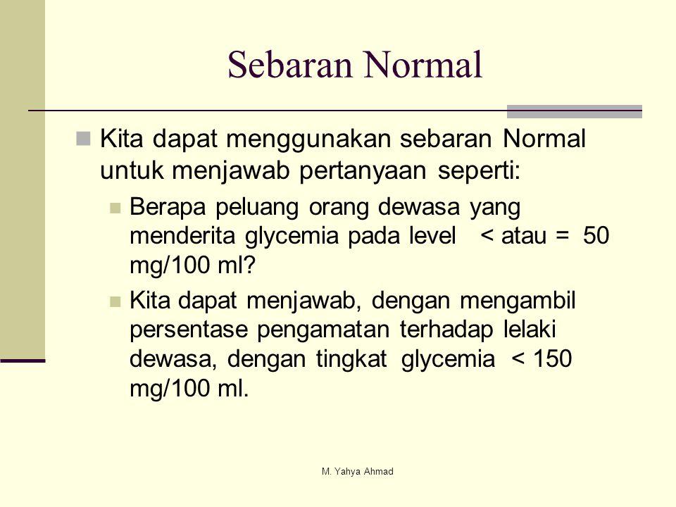  Kita dapat menggunakan sebaran Normal untuk menjawab pertanyaan seperti:  Berapa peluang orang dewasa yang menderita glycemia pada level < atau = 5