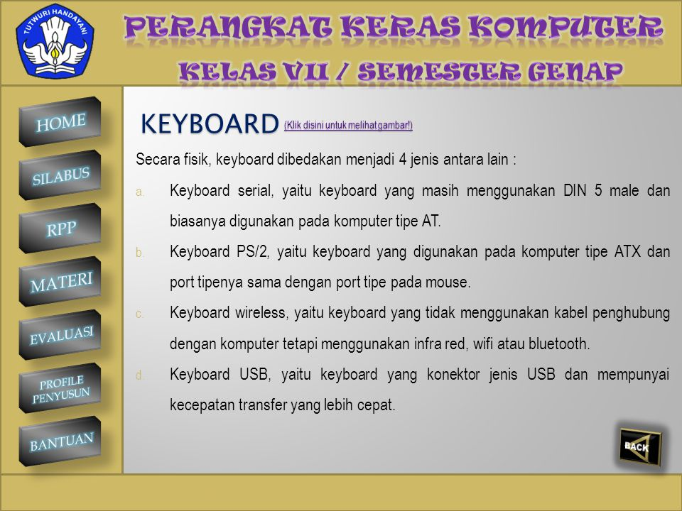 SMP NEGERI 1 KINTAMANI KEYBOARD Secara fisik, keyboard dibedakan menjadi 4 jenis antara lain : a.