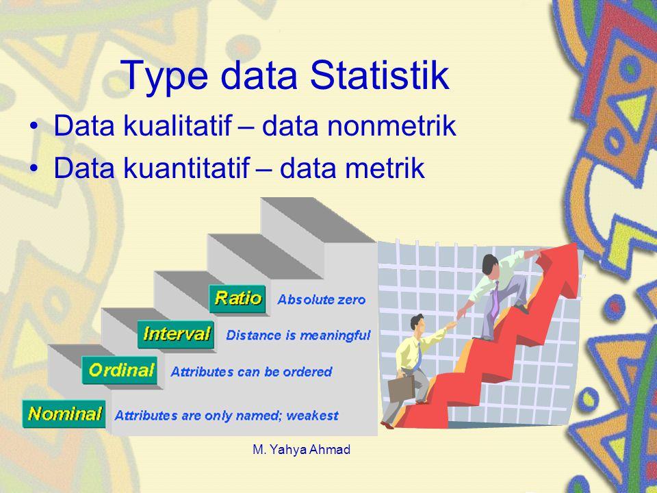 Type data Statistik •Data kualitatif – data nonmetrik •Data kuantitatif – data metrik M.