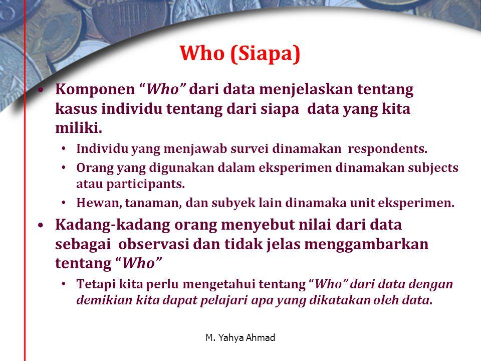 Who (Siapa) •Komponen Who dari data menjelaskan tentang kasus individu tentang dari siapa data yang kita miliki.