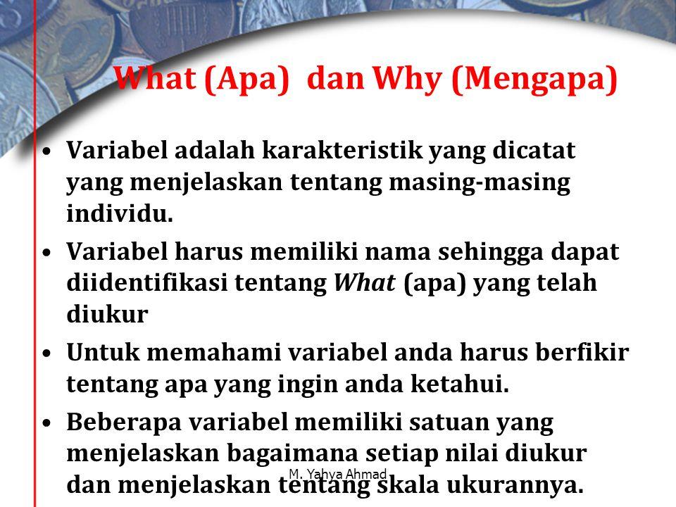 What (Apa) dan Why (Mengapa) •Variabel adalah karakteristik yang dicatat yang menjelaskan tentang masing-masing individu.
