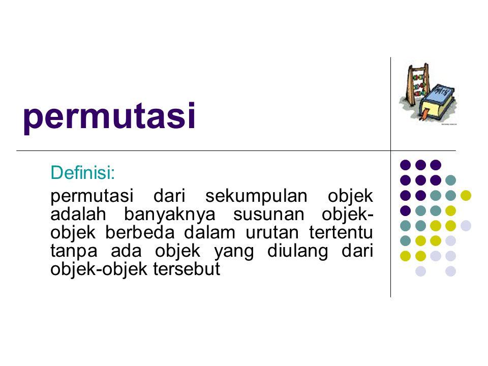 permutasi Definisi: permutasi dari sekumpulan objek adalah banyaknya susunan objek- objek berbeda dalam urutan tertentu tanpa ada objek yang diulang d