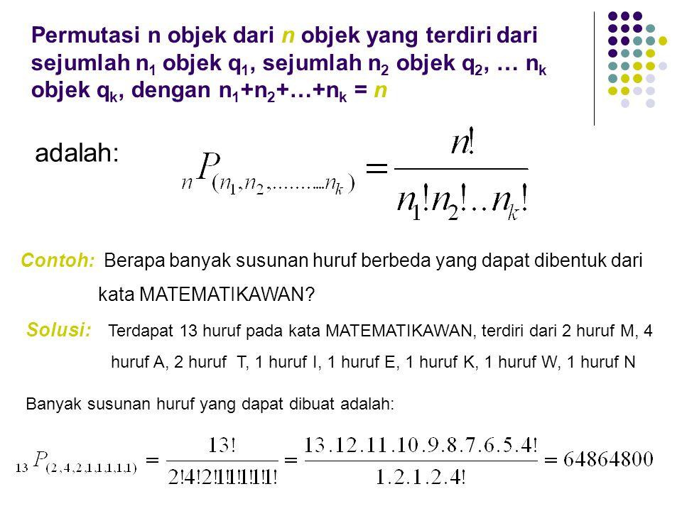 Permutasi n objek dari n objek yang terdiri dari sejumlah n 1 objek q 1, sejumlah n 2 objek q 2, … n k objek q k, dengan n 1 +n 2 +…+n k = n adalah: C