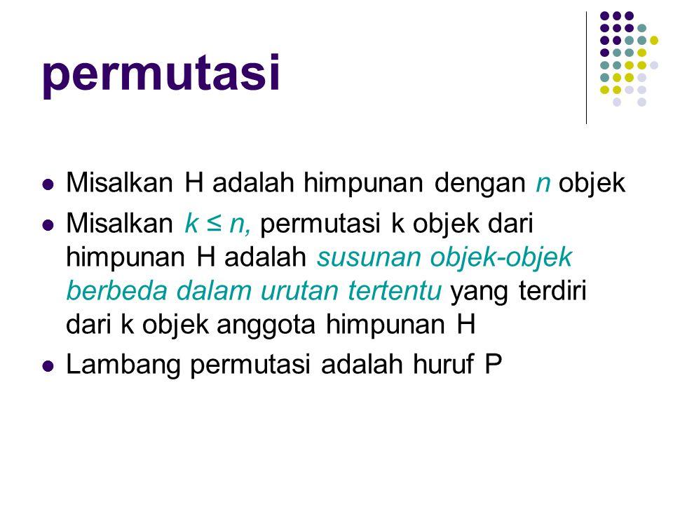 SOAL:  Tentukan susunan huruf yang dapat dibentuk dari kata JUMBO , jika susunan huruf tersebut terdiri atas lima huruf berbeda dan (tidak ada huruf yang digunakan berulang dalam susunan)  Berapa banyak susunan huruf berbeda yang dapat dibentuk dari kata MAHASISWA .
