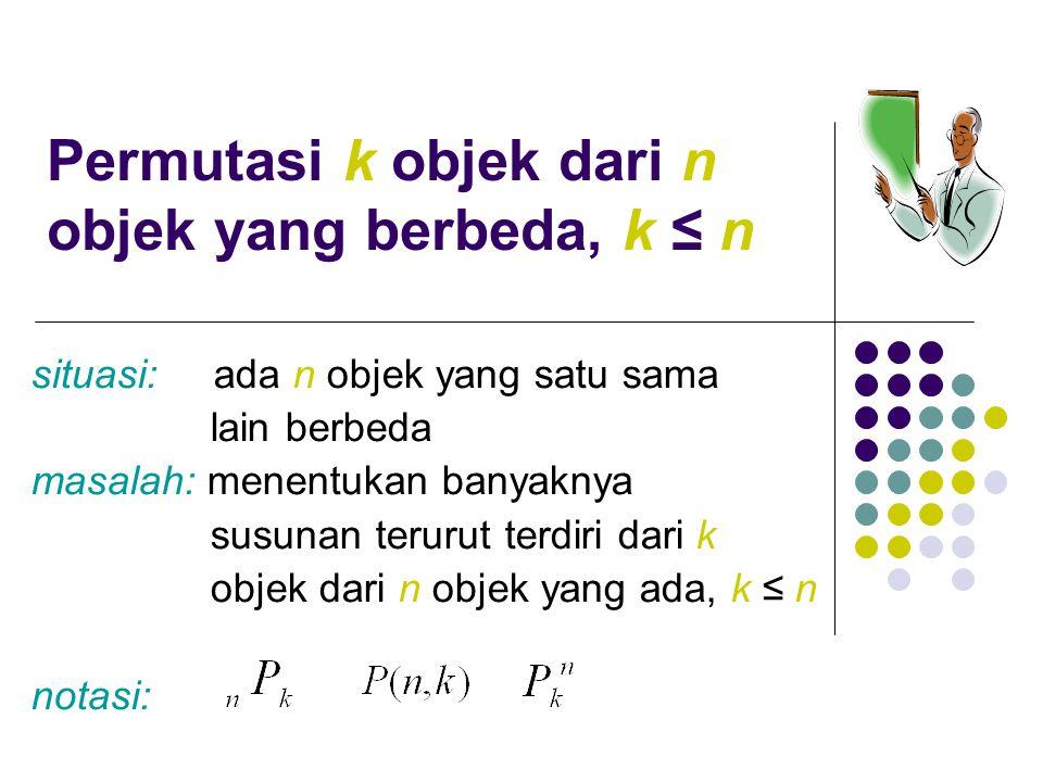 Masalah tersebut dapat dipandang sebagai masalah memilih k objek dalam n objek yang ada, k ≤ n Kotak ke- 1 2 ……………… k – 1 k Tahap pertama adalah mengisi kotak ke-1, tahap kedua adalah mengisi kotak ke-2, dan seterusnya sampai tahap ke-k TahapPengisian kotak ke-Banyak cara 11n 22n – 1 ……… k – 1 n - (k - 2) = n – k +2 kkn - (k -1) =n – k +1