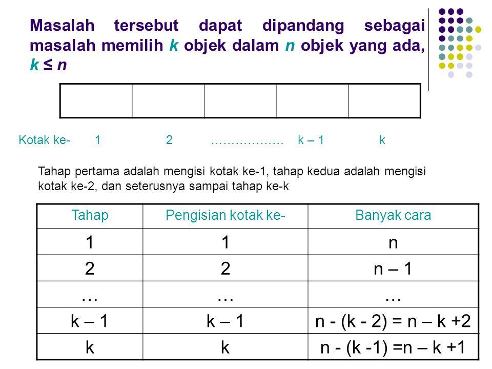 Masalah tersebut dapat dipandang sebagai masalah memilih k objek dalam n objek yang ada, k ≤ n Kotak ke- 1 2 ……………… k – 1 k Tahap pertama adalah mengi