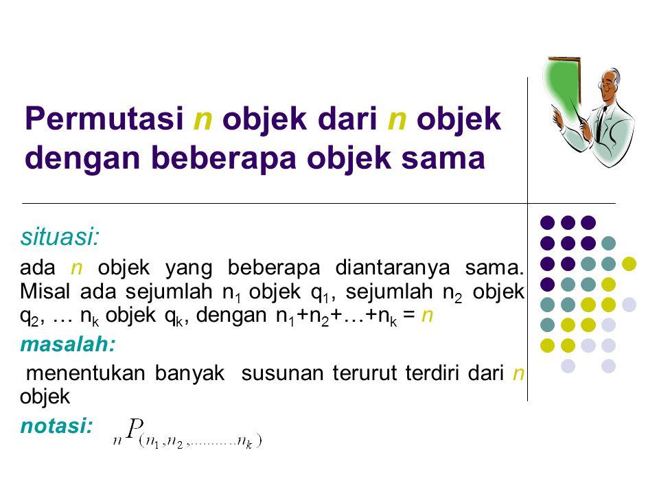 Permutasi n objek dari n objek yang terdiri dari sejumlah n 1 objek q 1, sejumlah n 2 objek q 2, … n k objek q k, dengan n 1 +n 2 +…+n k = n adalah: Contoh: Berapa banyak susunan huruf berbeda yang dapat dibentuk dari kata MATEMATIKAWAN.