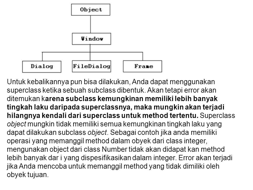 Untuk kebalikannya pun bisa dilakukan, Anda dapat menggunakan superclass ketika sebuah subclass dibentuk. Akan tetapi error akan ditemukan karena subc