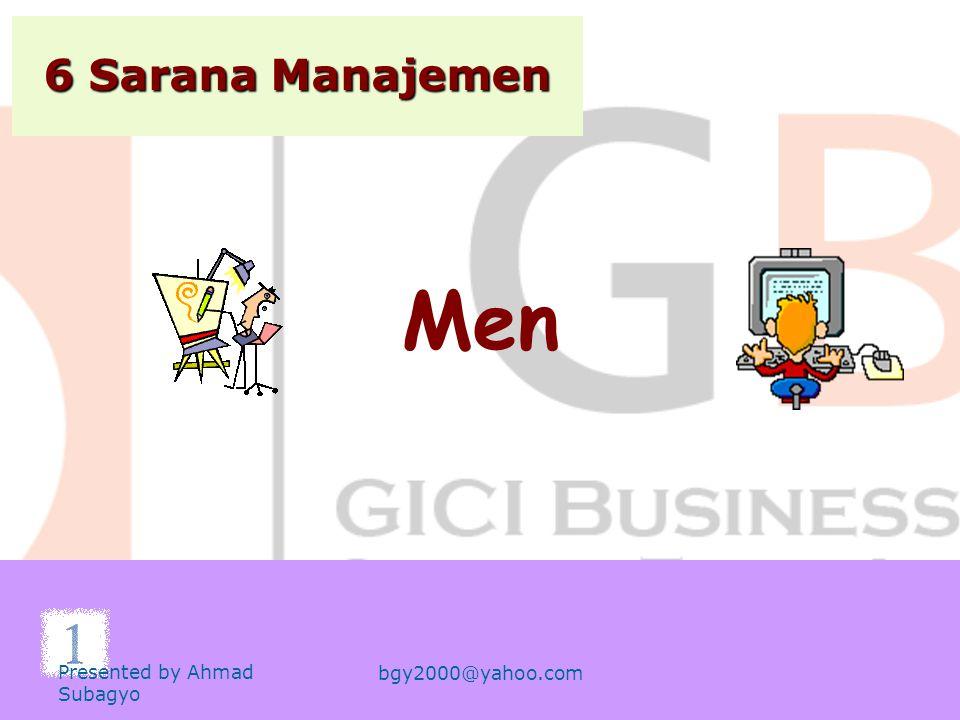 6 Sarana Manajemen 1.Men 2.Methods 3.Machines 4.Materials 5.Money 6.Market Presented by Ahmad Subagyo bgy2000@yahoo.com