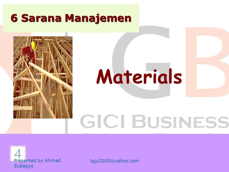 6 Sarana Manajemen Machines Presented by Ahmad Subagyo bgy2000@yahoo.com