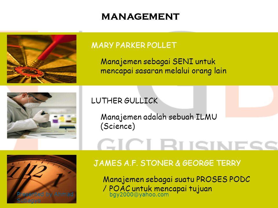 Apakah manajemen itu Ilmu atau Seni ? Para pakar manajemen berbeda pendapat dalam hal ini Presented by Ahmad Subagyo bgy2000@yahoo.com