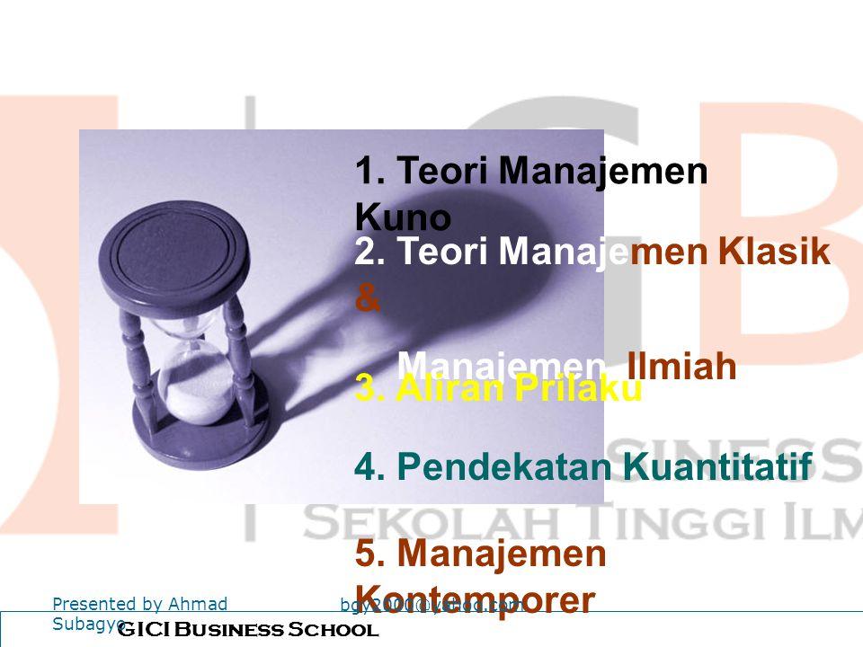 Evolusi Teori Manajemen Presented by Ahmad Subagyo bgy2000@yahoo.com