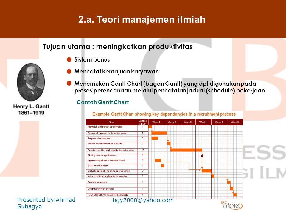 2.a. Teori manajemen ilmiah Tujuan utama : meningkatkan produktivitas Frank & Lillian Gilberth (1942) & (1972) Dikenal sbg bapak manajemen ilmiah yg m