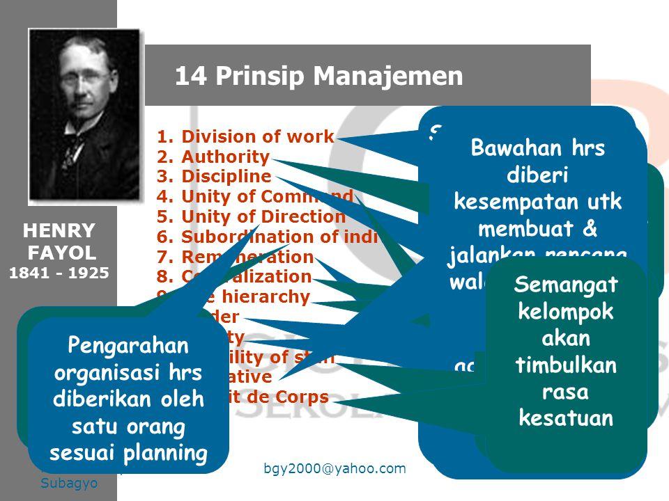 3. Teori organisasi klasik Classical Organization Theory FOKUS : Melakukan Sistematisasi praktek manajemen dalam organisasi Henry Fayol (1841 – 1925)
