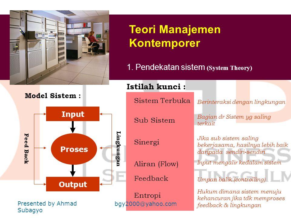 Teori Manajemen Kontemporer 1. Pendekatan sistem ( System Theory) 2. Pendekatan Situasional ( Contingency Plan) 3. Pendekatan Hubungan Manusia Baru (