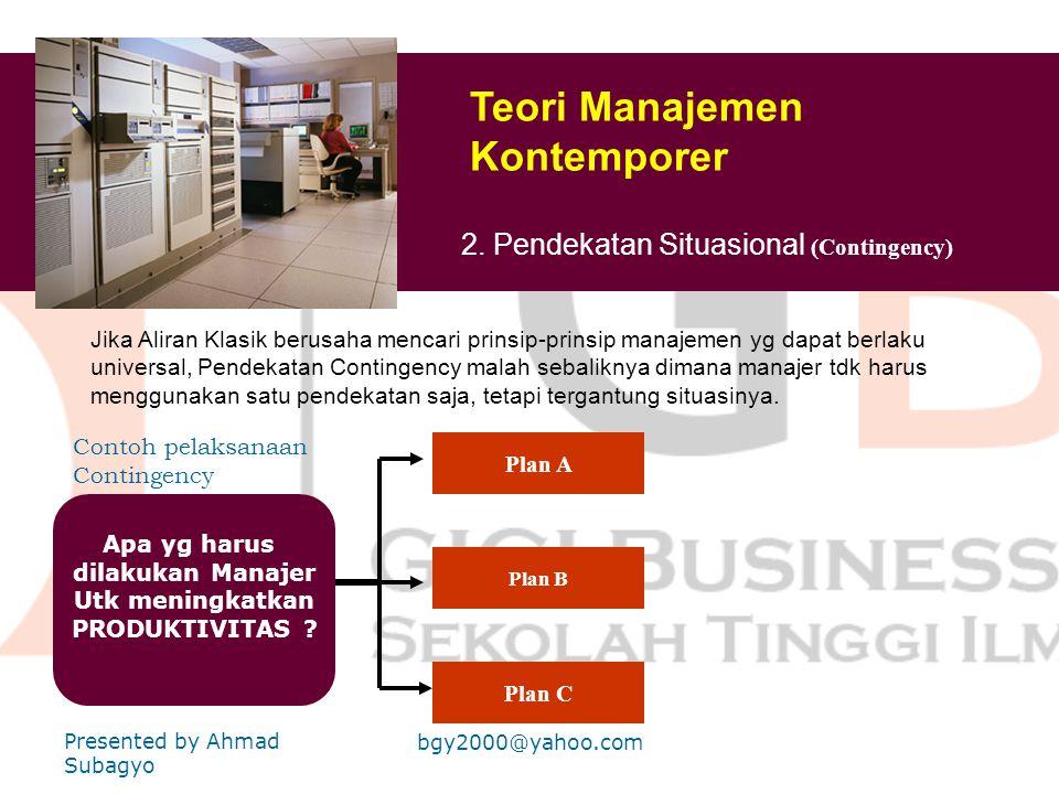 Teori Manajemen Kontemporer 1. Pendekatan sistem ( System Theory) Model Sistem : Input Output Proses LingkunganFeed Back Istilah kunci : Sistem Terbuk