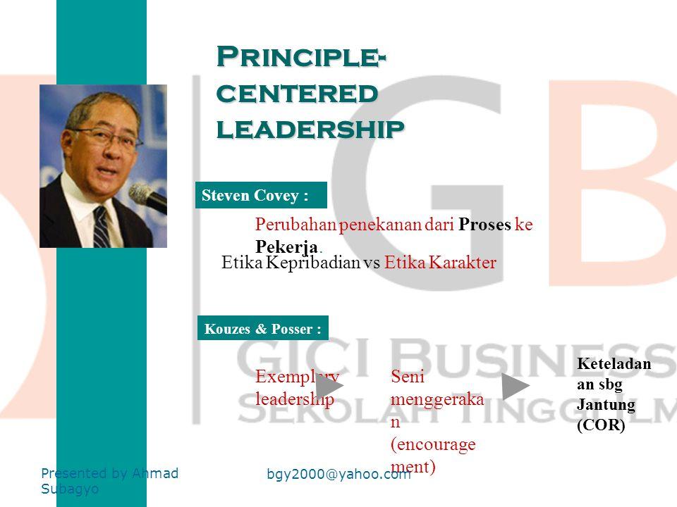 Fungsi kepemimpinan 1 2 Fungsi Problem Solving Fungsi Sosial (Dorongan kepada kelompok) Presented by Ahmad Subagyo bgy2000@yahoo.com