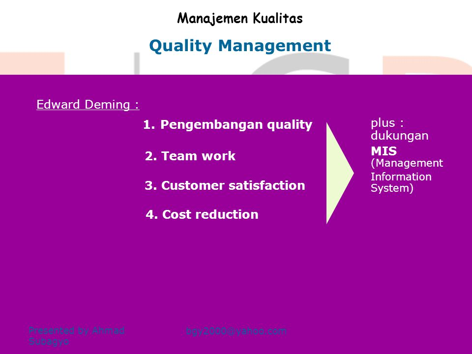 PERTEMUAN KELIMA Presented by Ahmad Subagyo bgy2000@yahoo.com •MANAJEMEN KUALITAS •ISO QUALITY MANAGEMENT CONTROLLING