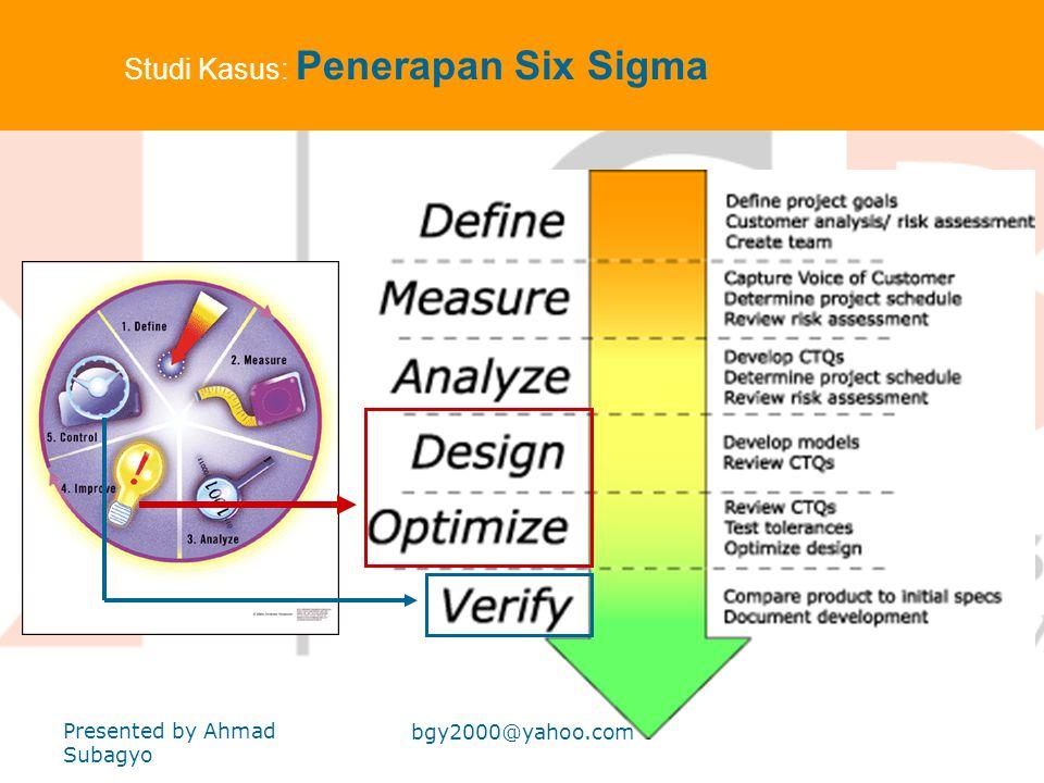 Studi Kasus Manajemen. Produksi : Penerapan Six Sigma Six Sigma adalah metode kontemporer dlm dunia industri untuk meningkatkan efisiensi produksi sec