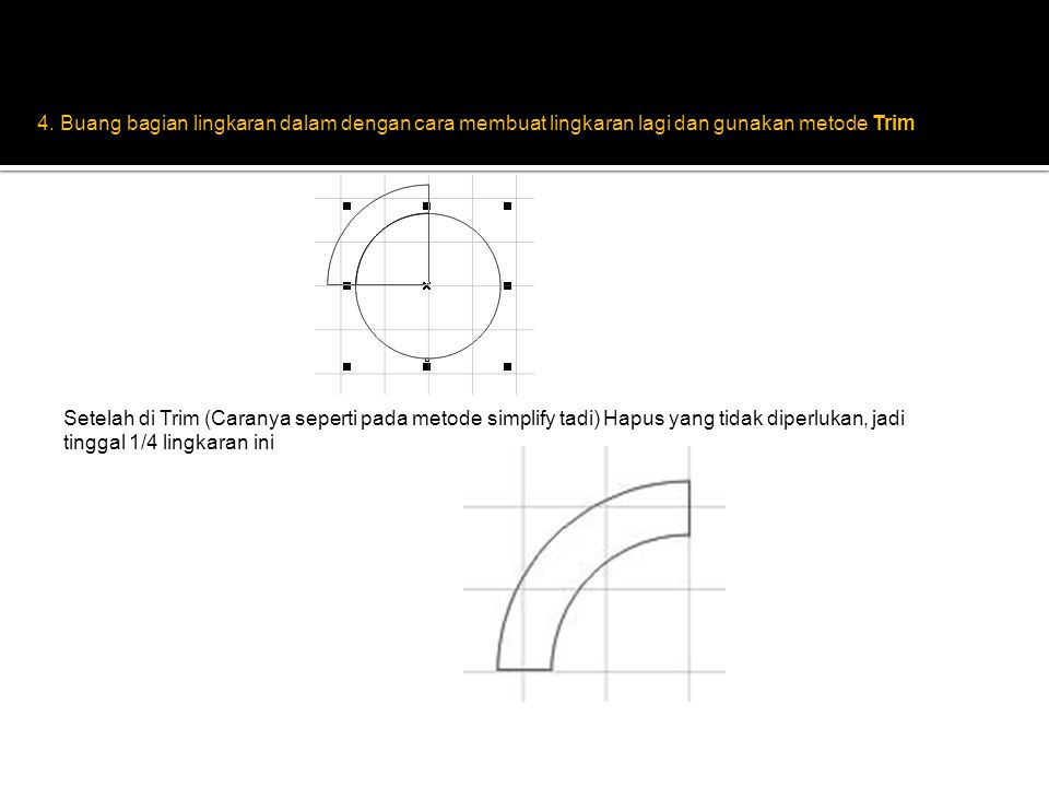 4. Buang bagian lingkaran dalam dengan cara membuat lingkaran lagi dan gunakan metode Trim Setelah di Trim (Caranya seperti pada metode simplify tadi)